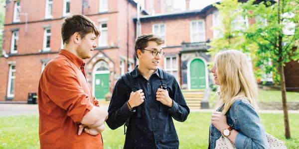 Students talking outside of Lyddon Hall